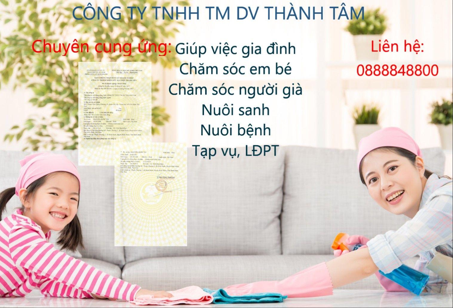 Thành Tâm cho thuê người giúp việc tại quận Bình Tân